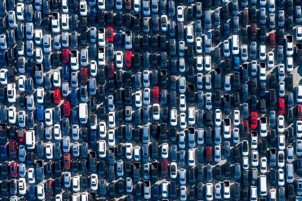 Unused rental cars at unused stadiums