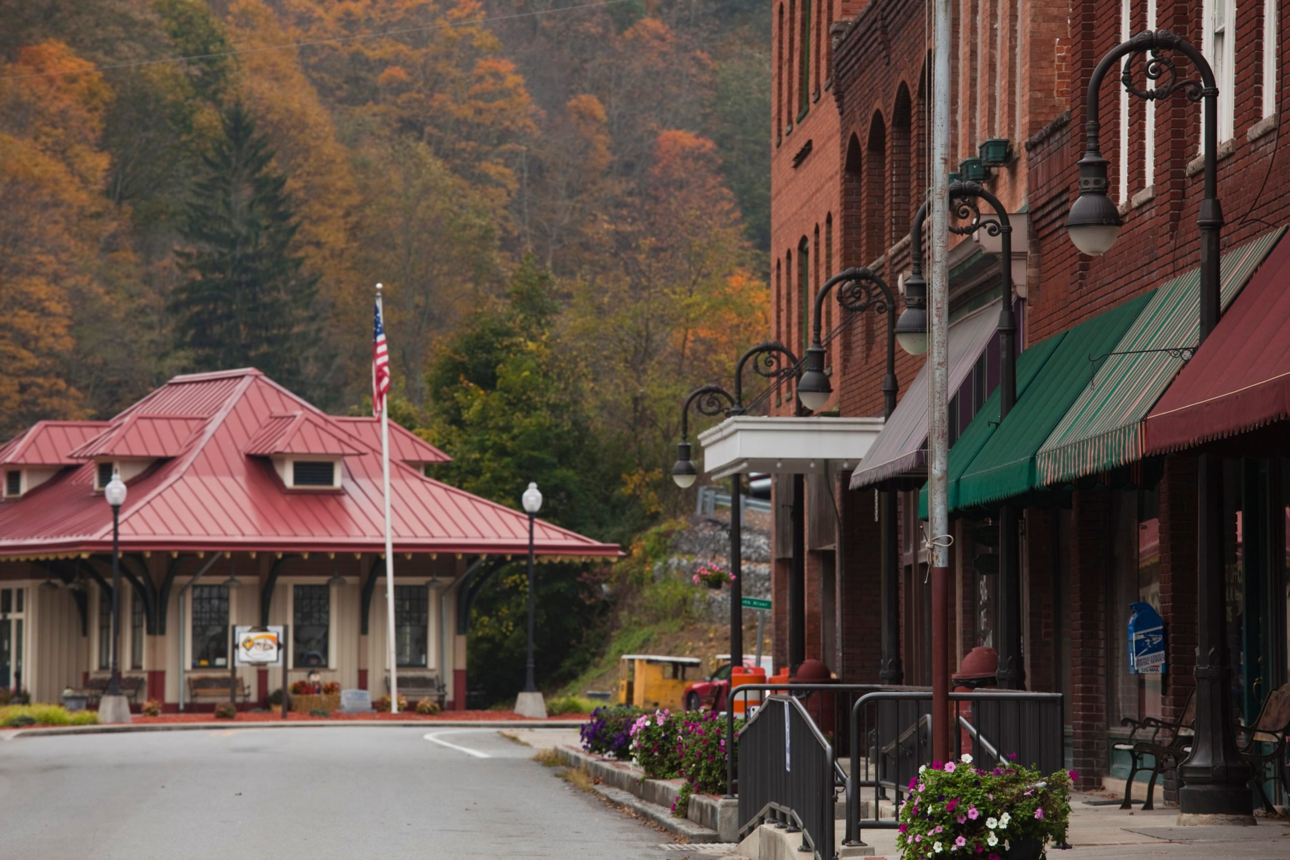Train depot at Town of Millionaires, National Coal Heritage Area, Bramwell, West Virginia, USA
