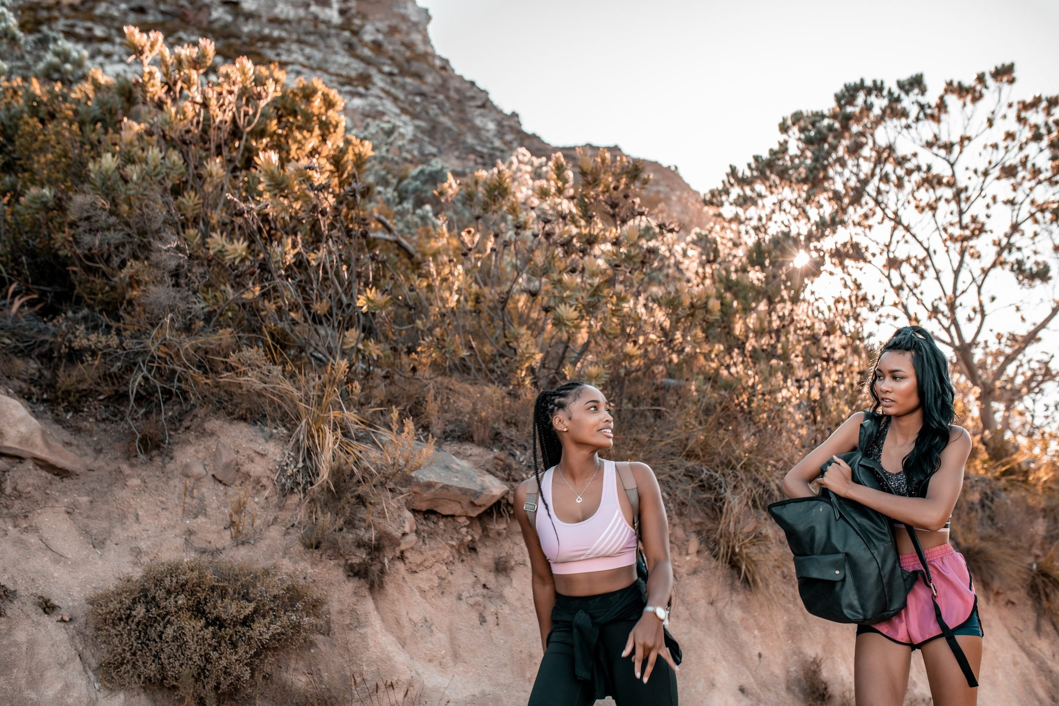 Friends hiking.