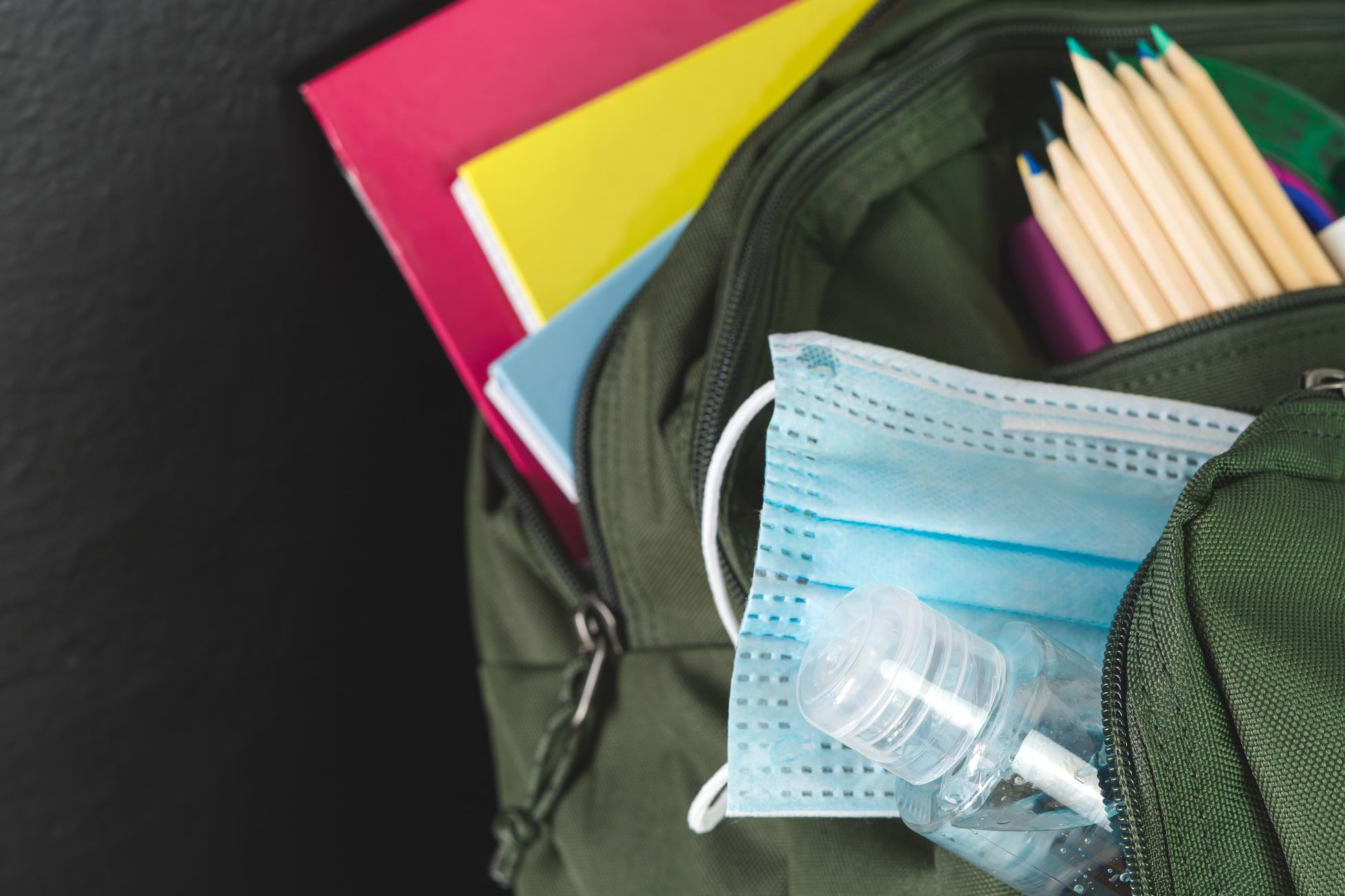 Backpack prepared with study supplies and mask for the return to school. Covid-19 concept.