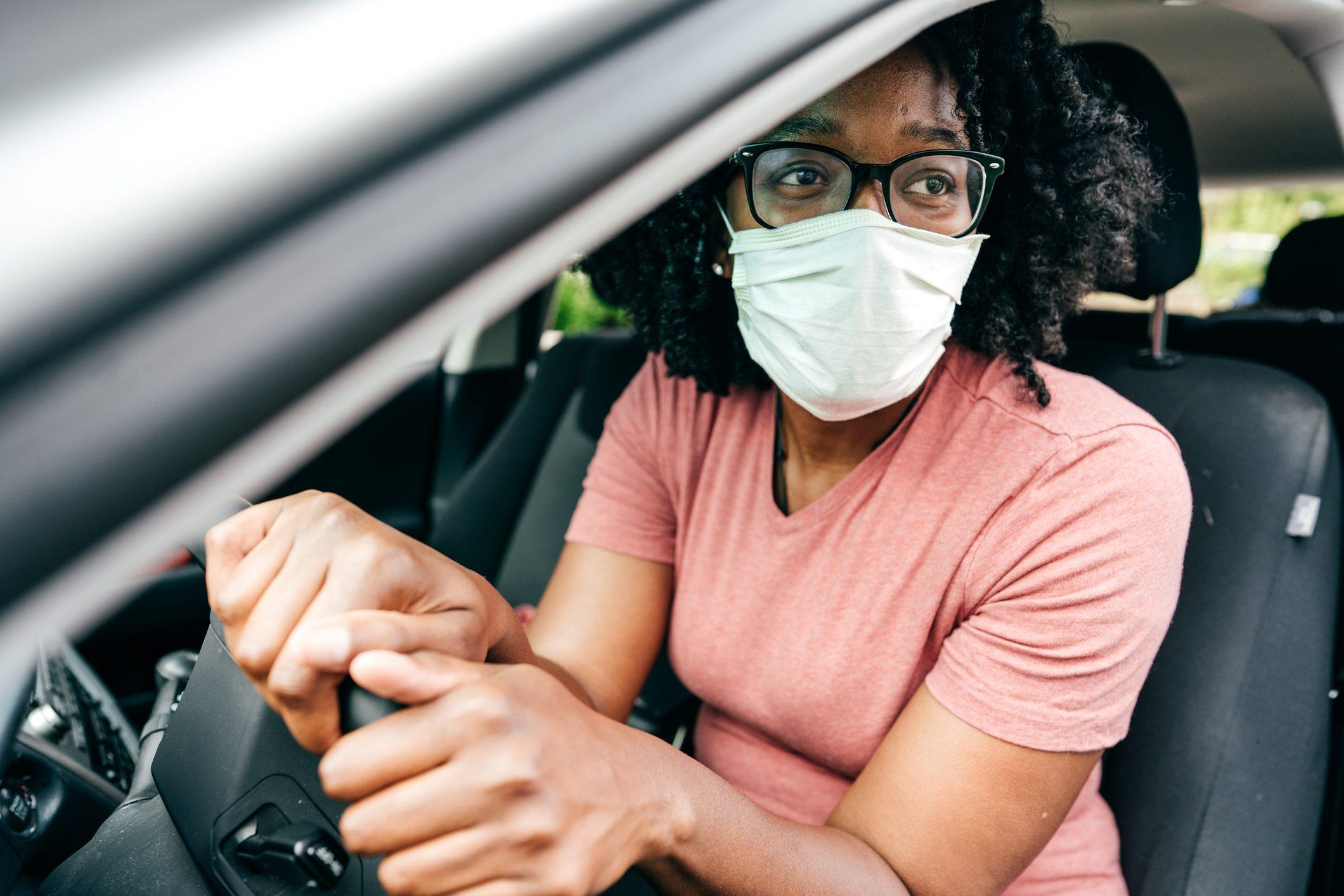 Wearing mask in car
