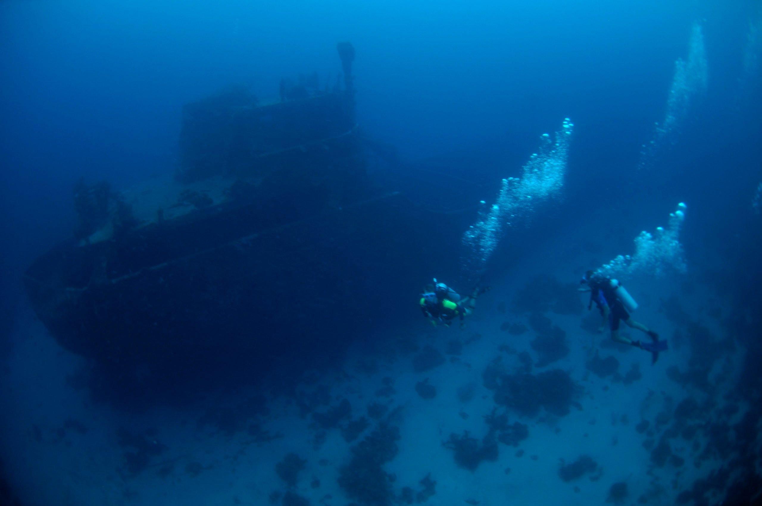 Superior Producer wreck dive Ship lies at 85-100 feet on sand flat Curacao, Netherlands Antilles Digital Photo (horizontal)