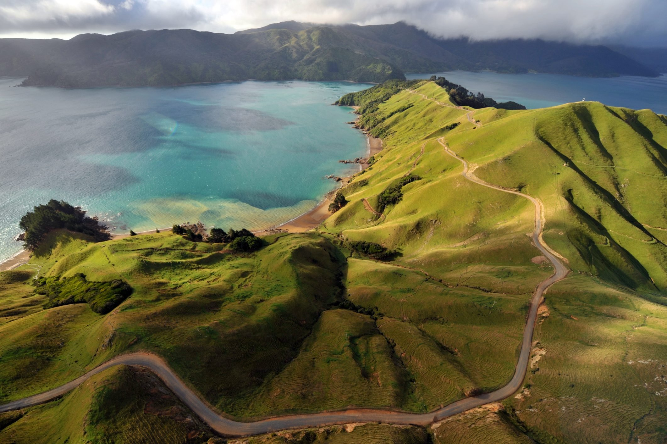 Aerial view of Marlborough Sounds