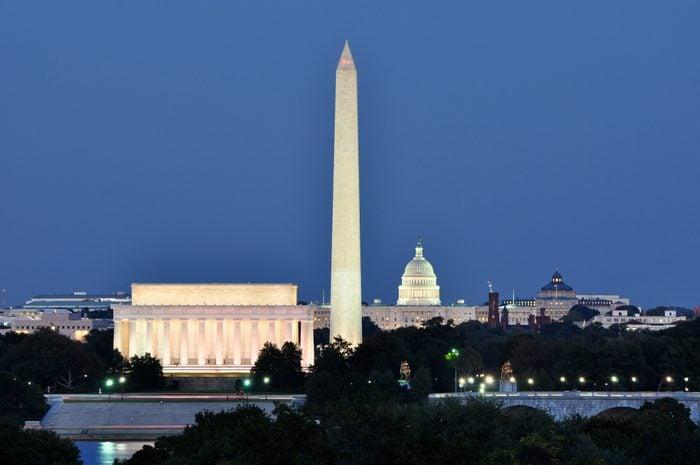 Washington, DC, skyline at night