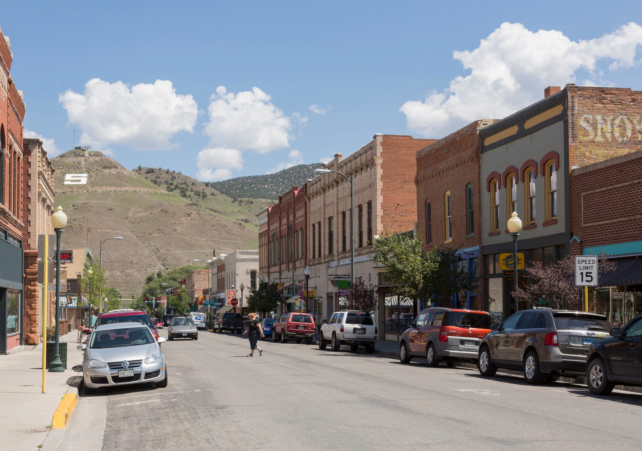 Main street of Salida, Colorado, USA with typical shops and stores