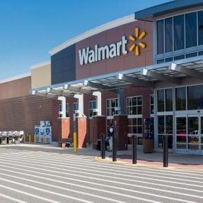 Entrance to large Walmart food supermarket or superstore in Haymarket, Virginia, USA