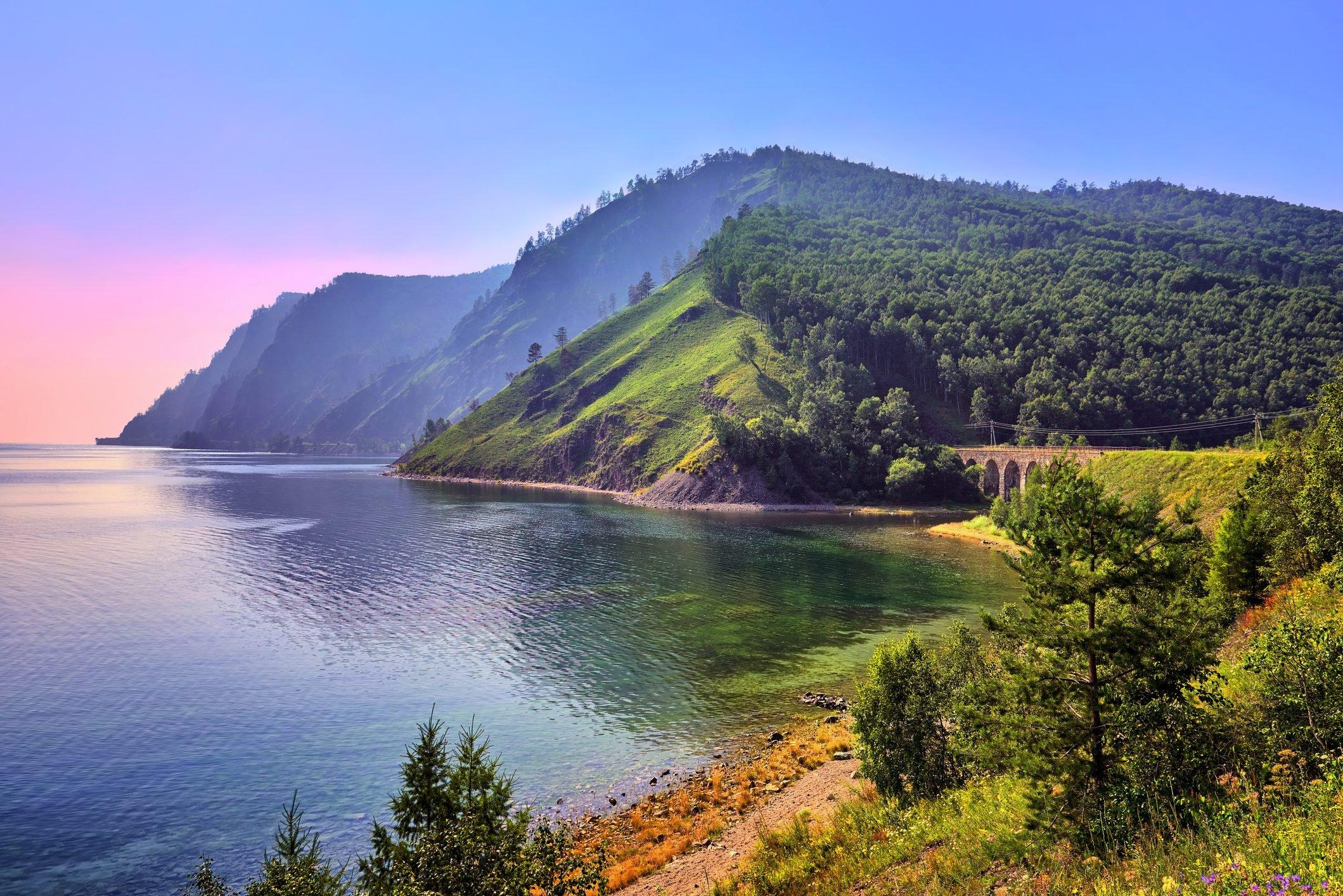 Baikal landscape with an old railway bridge