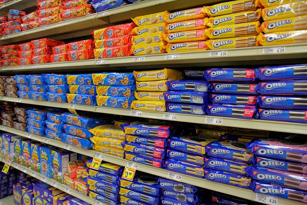 Shelves of Oreos for sale at Winn Dixie, grocery store.