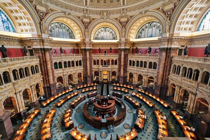Main Reading Room of the Library of Congress in Washington DC, USA