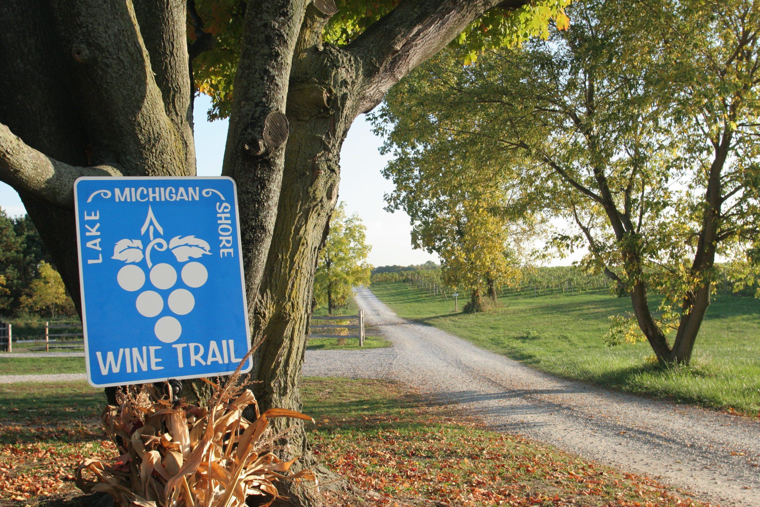 Lake Michigan Shore Wine Trail sign.