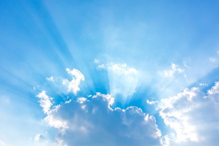 Light of sun and sky blue or azure sky and cloud