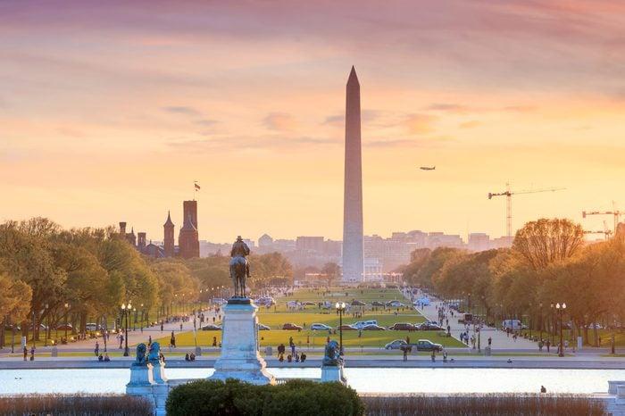 Washington DC city view at a orange sunset, including Washington