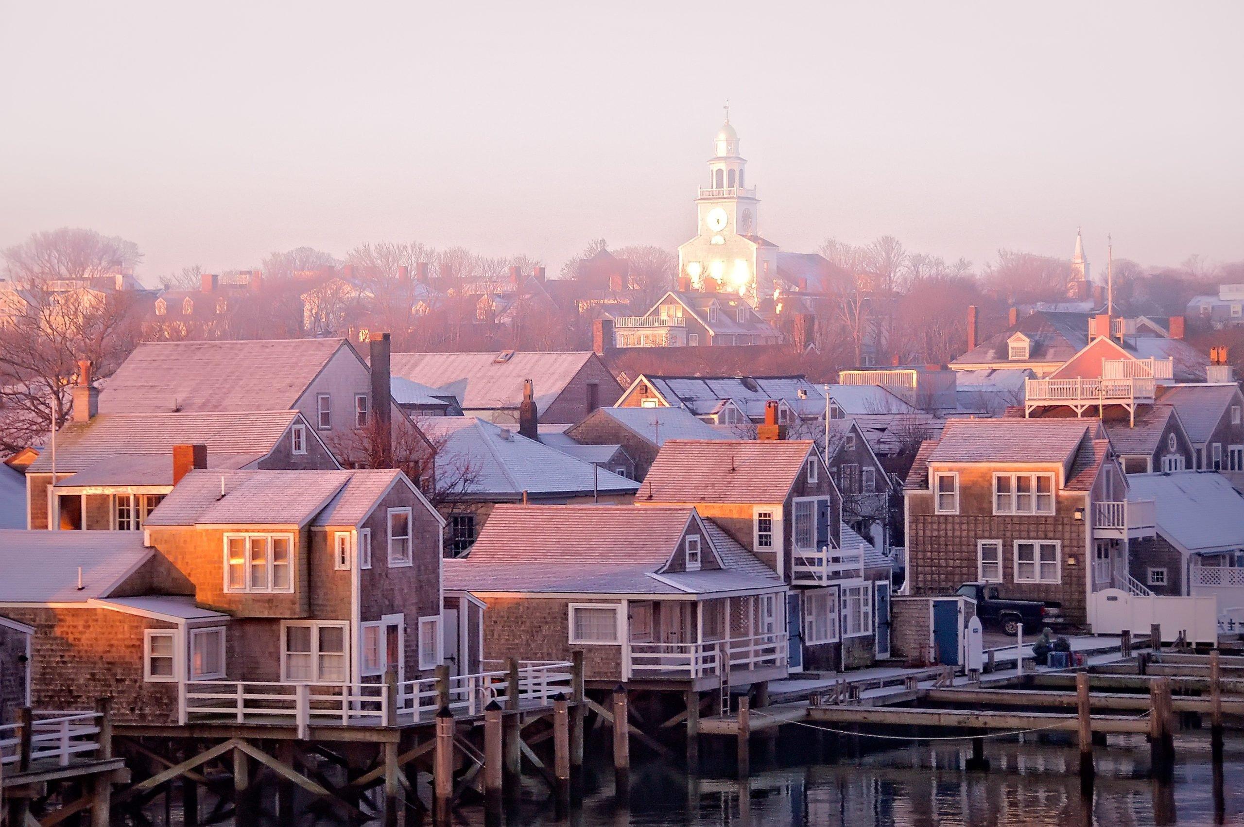 Nantucket sunrise townscape