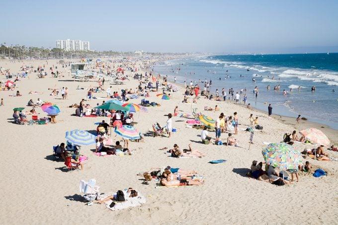 Crowded Santa Monica Beach