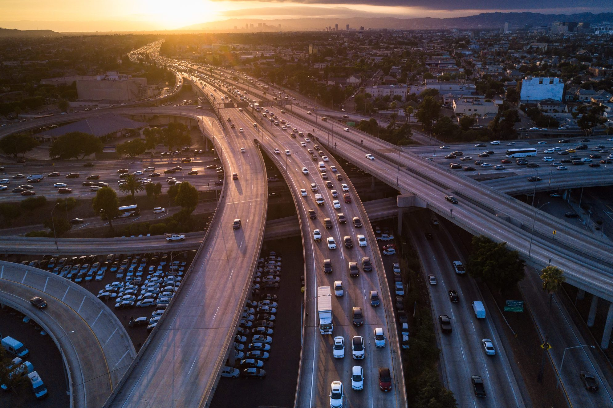 Drone Shot of 10/110 Interchange at Sunset
