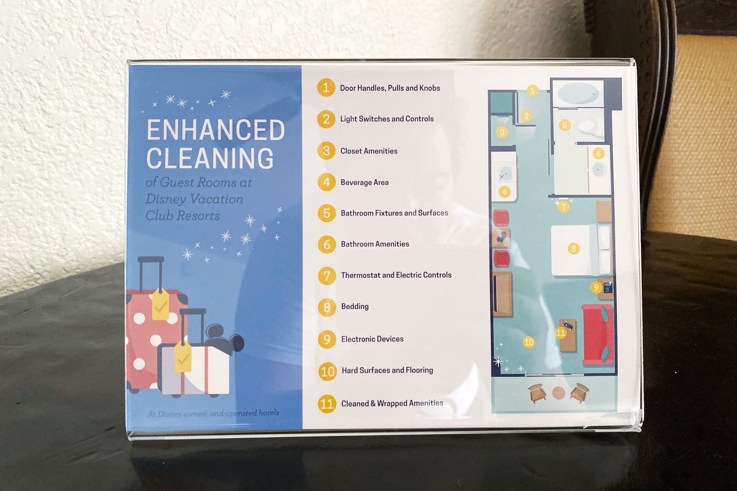 enhanced cleaning placard in disney hotel