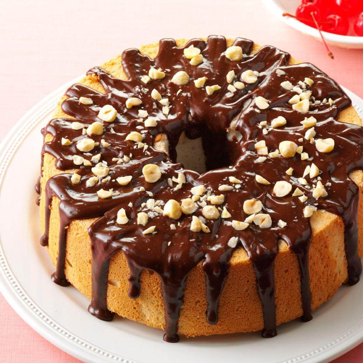 mocha hazelnut glazed angle food cake