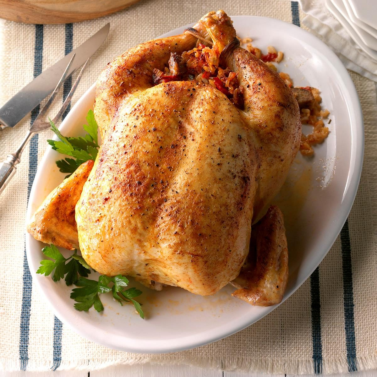 September: Roast Chicken with Creole Stuffing