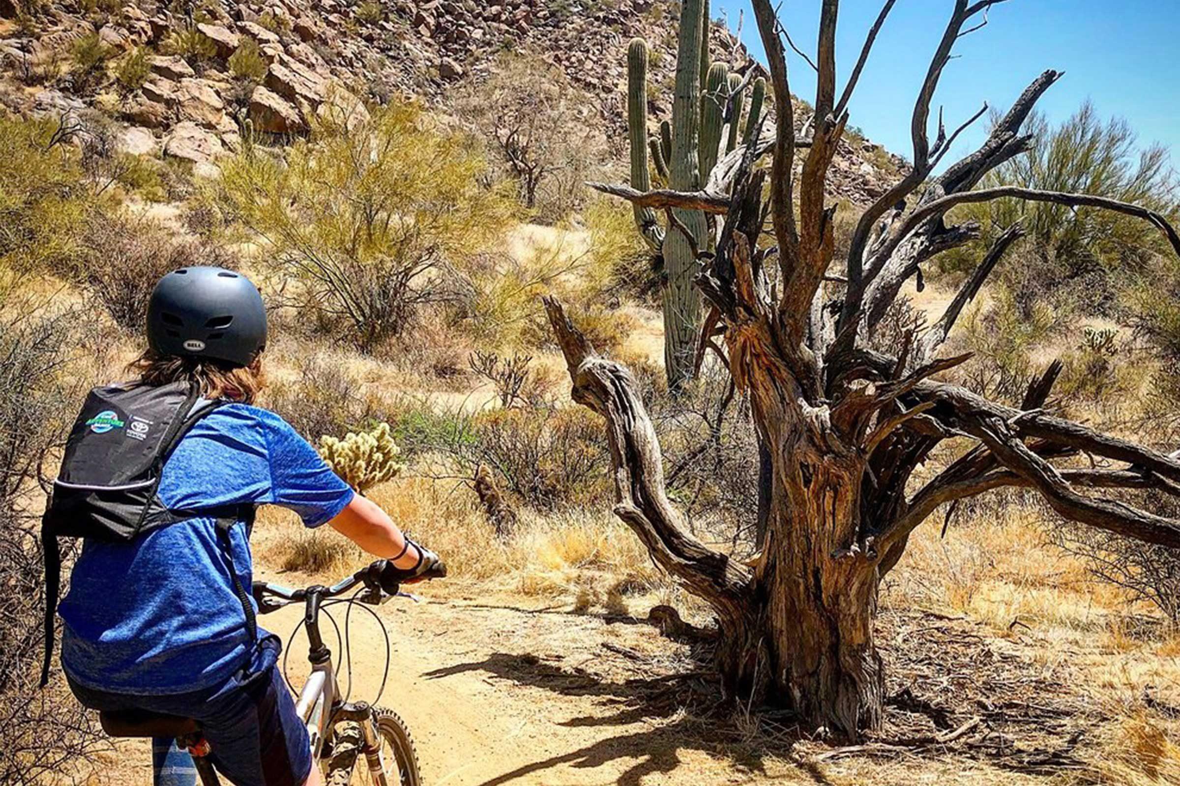 Kid on bike in desert