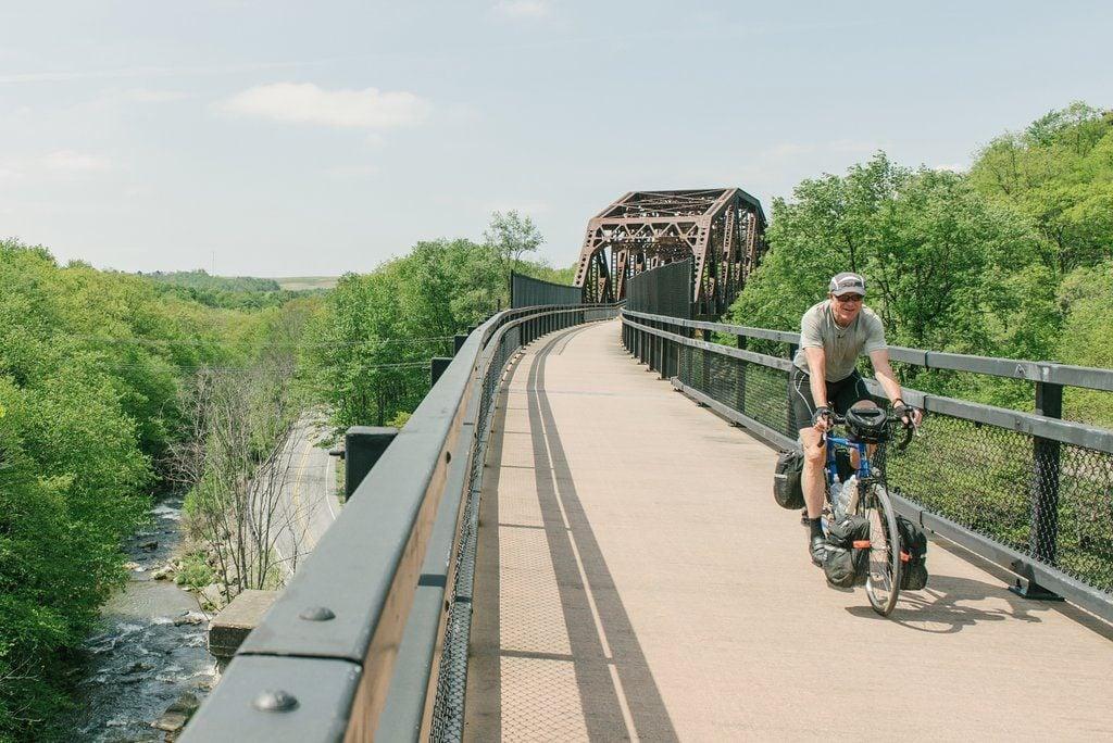 Biker on paved trail