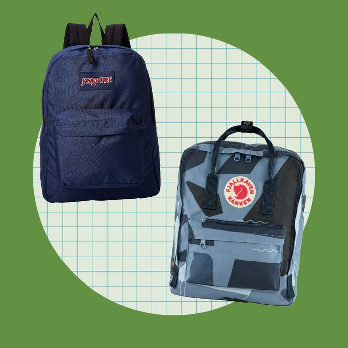school supply collage: backpacks