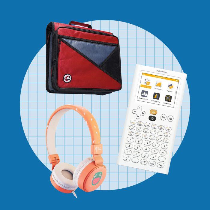 school supply collage: tech gear