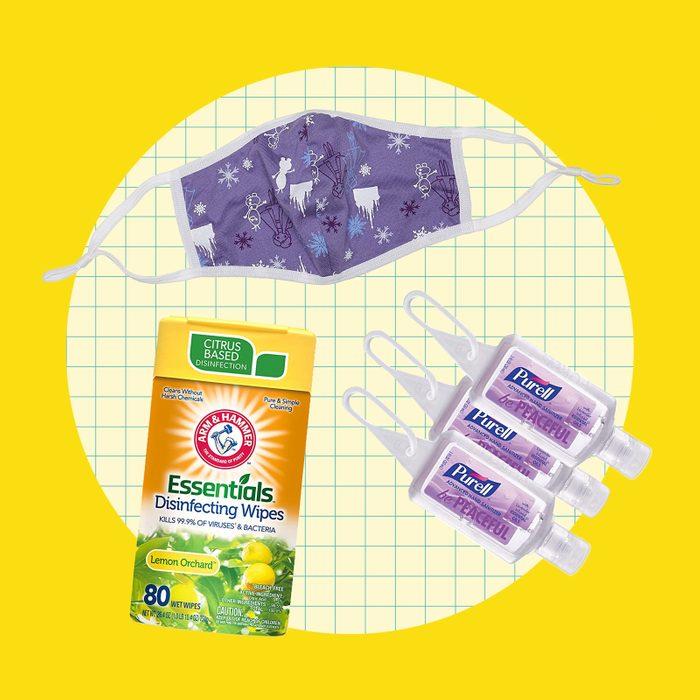school supply collage: health supplies