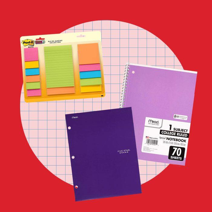 school supply collage: notebooks