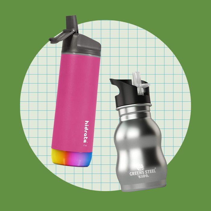 school supply collage: water bottles
