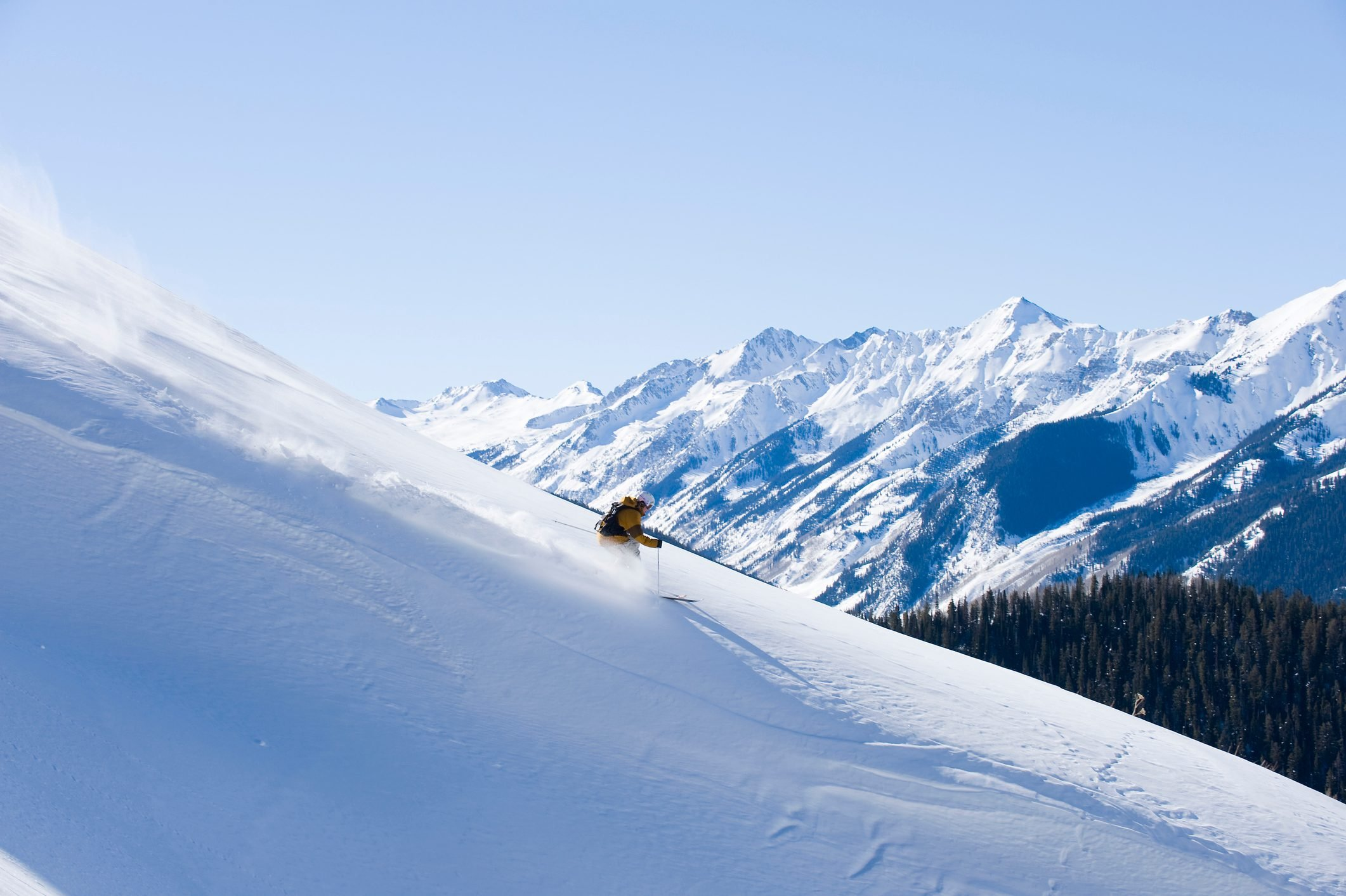Man skiing in Aspen, Colorado.