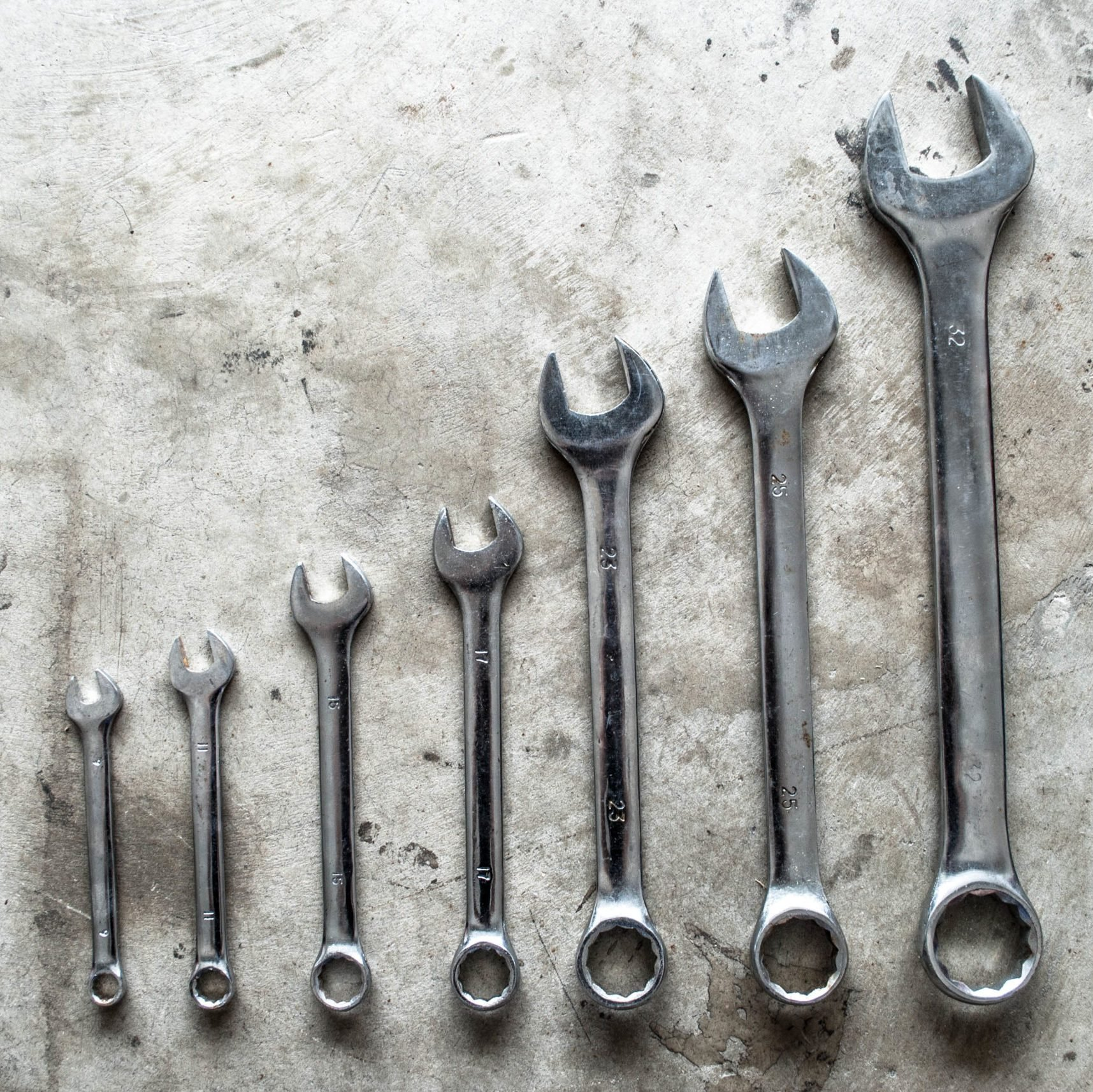 Directly Above Shot Of Wrenches On Table