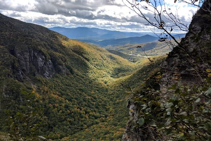 Smugglers' Notch Vermont looking towards Stowe as Autumn approaches