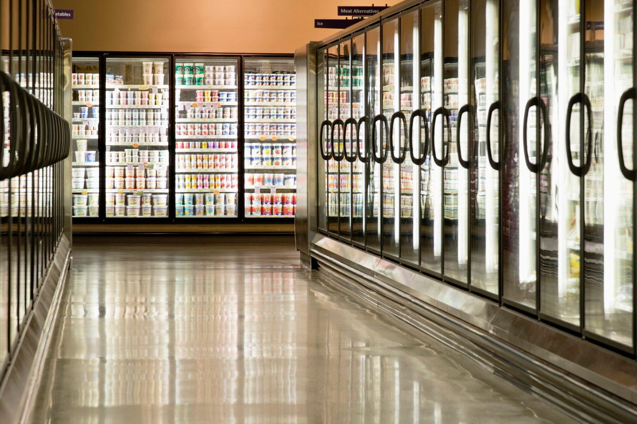 Freezer cases in supermarket