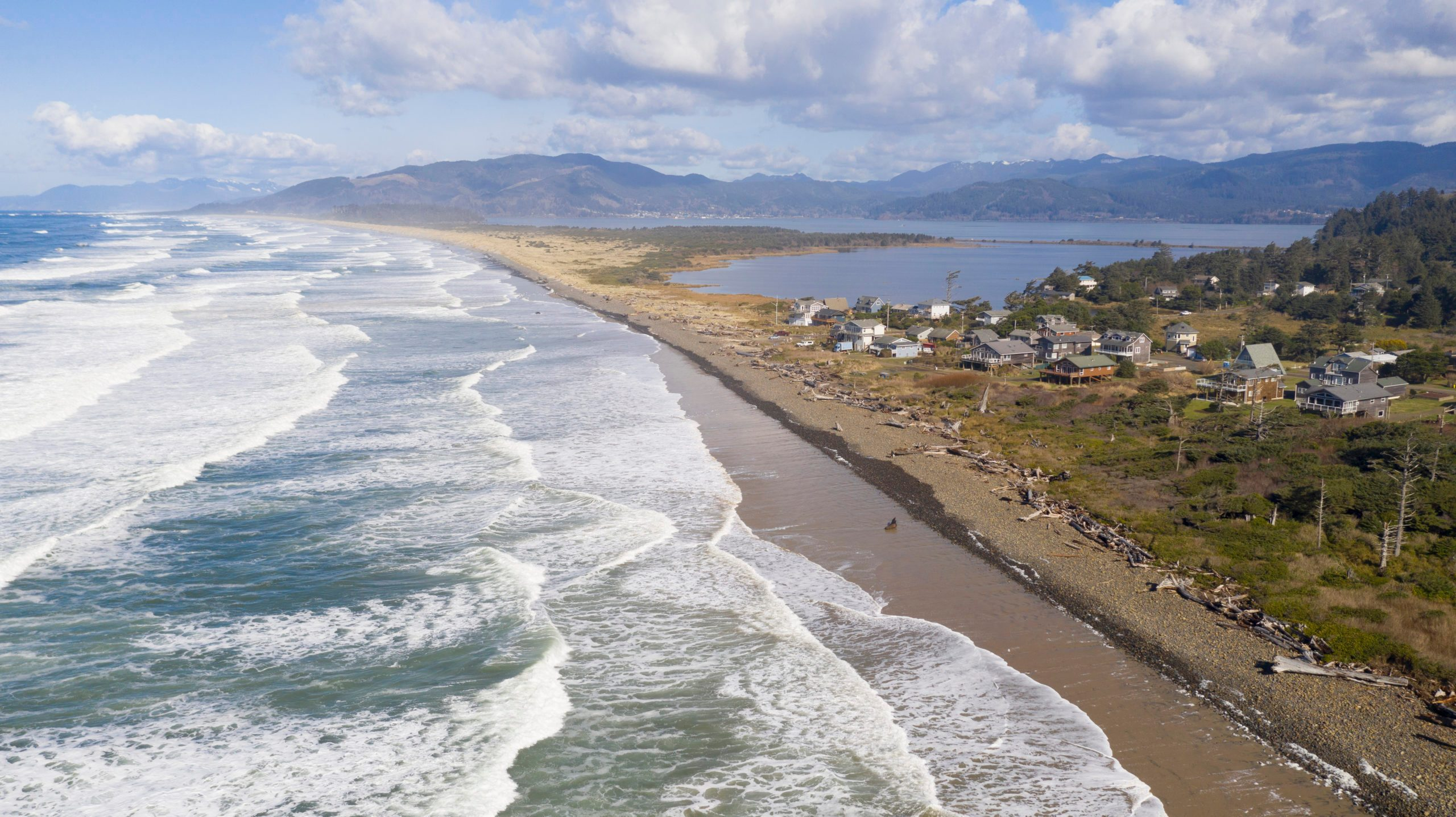Aerial Perspective over Pacific Coast Beach Bayocean Peninsula Park