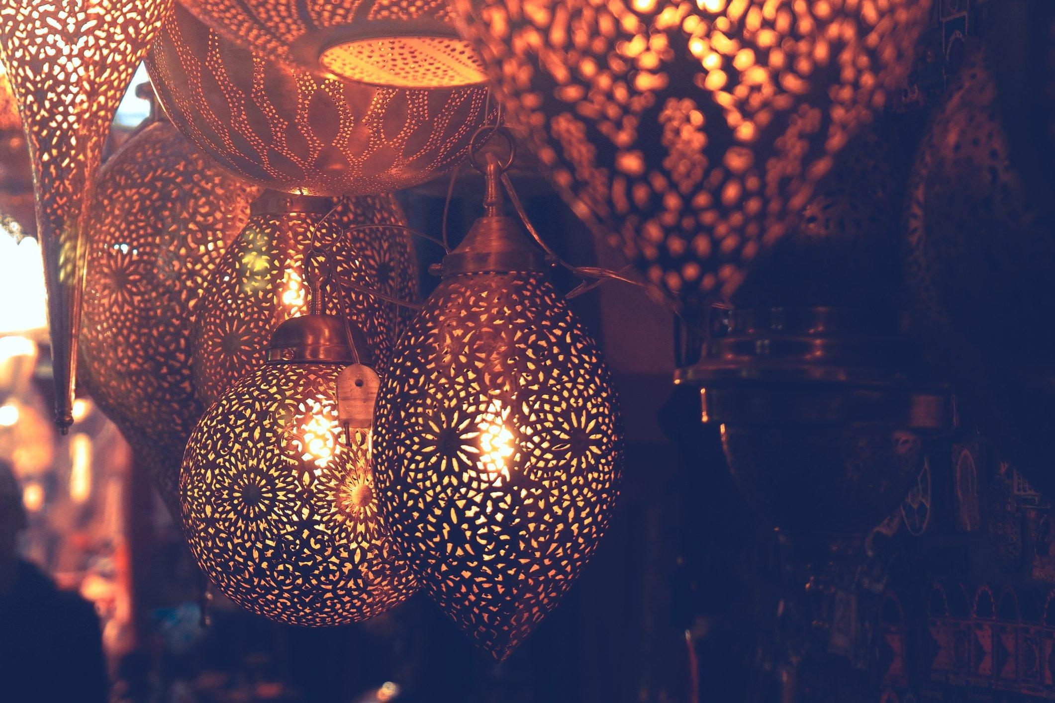 Metal lamps in souk, Marrakech, Morocco