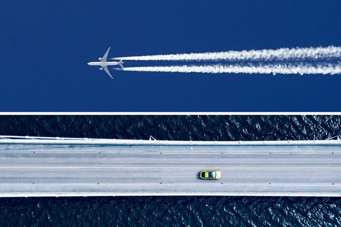 split screen airplane in the sky, car on a bridge