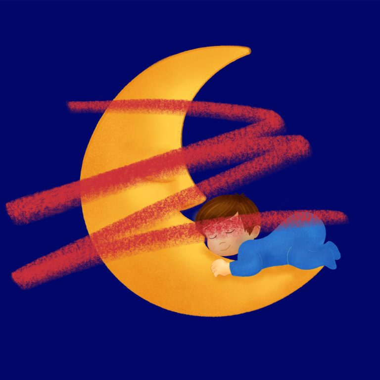 child sleeping on a cresent moon. lullaby concept with red strikethrough overlay.