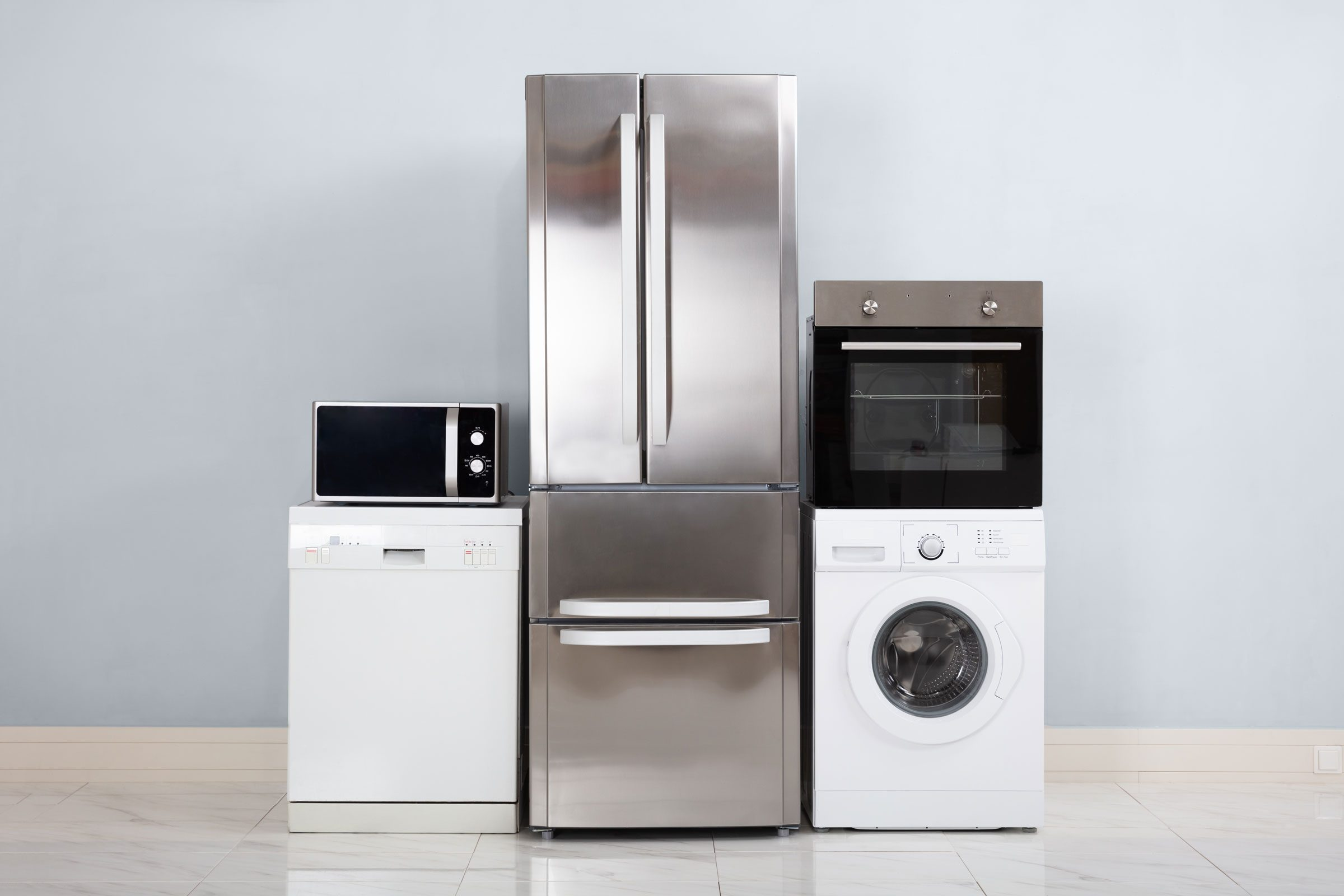 household appliances. microwave, dishwasher, refrigerator, oven, washing machine