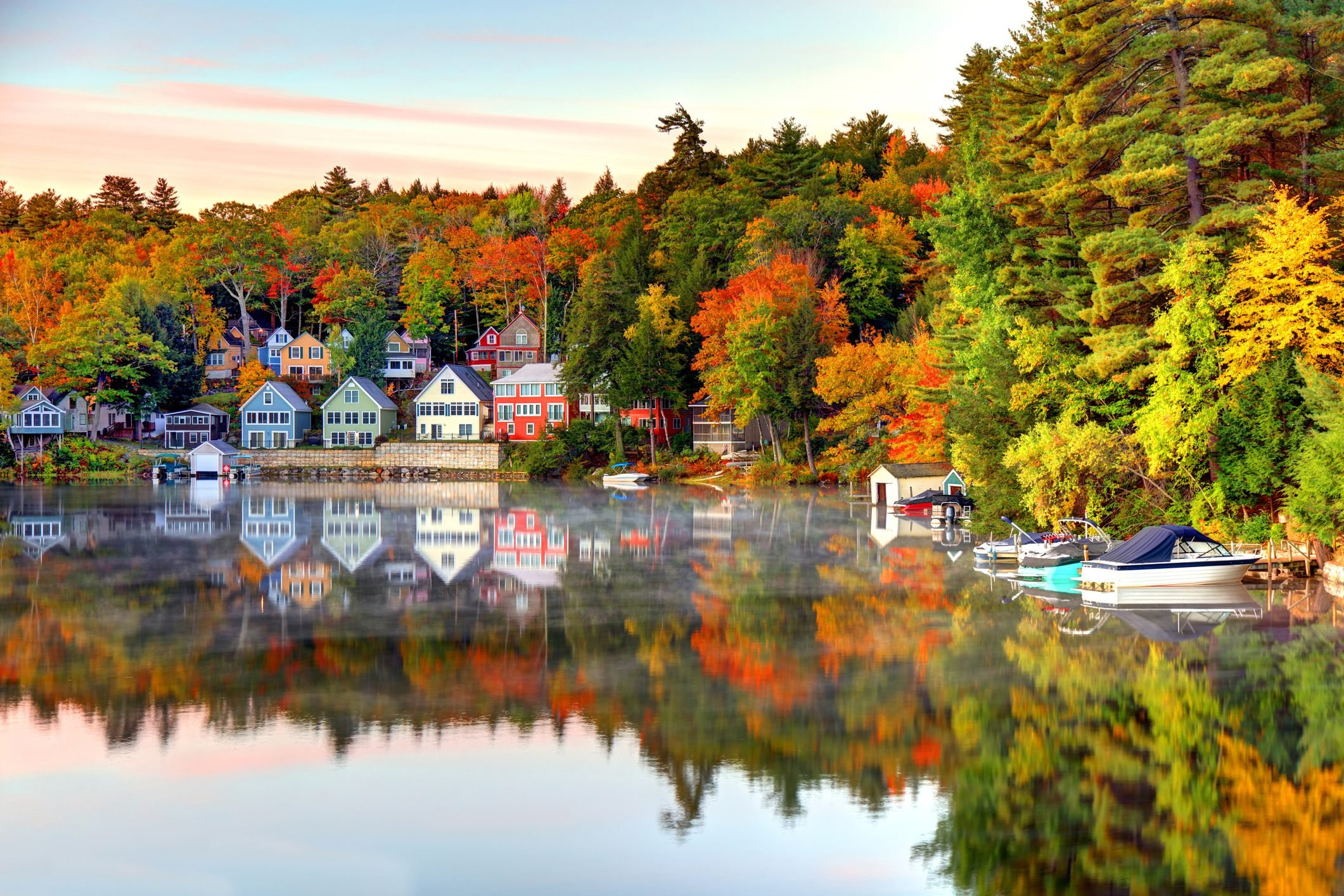 Autumn on Lake Winnipesaukee in New Hampshire