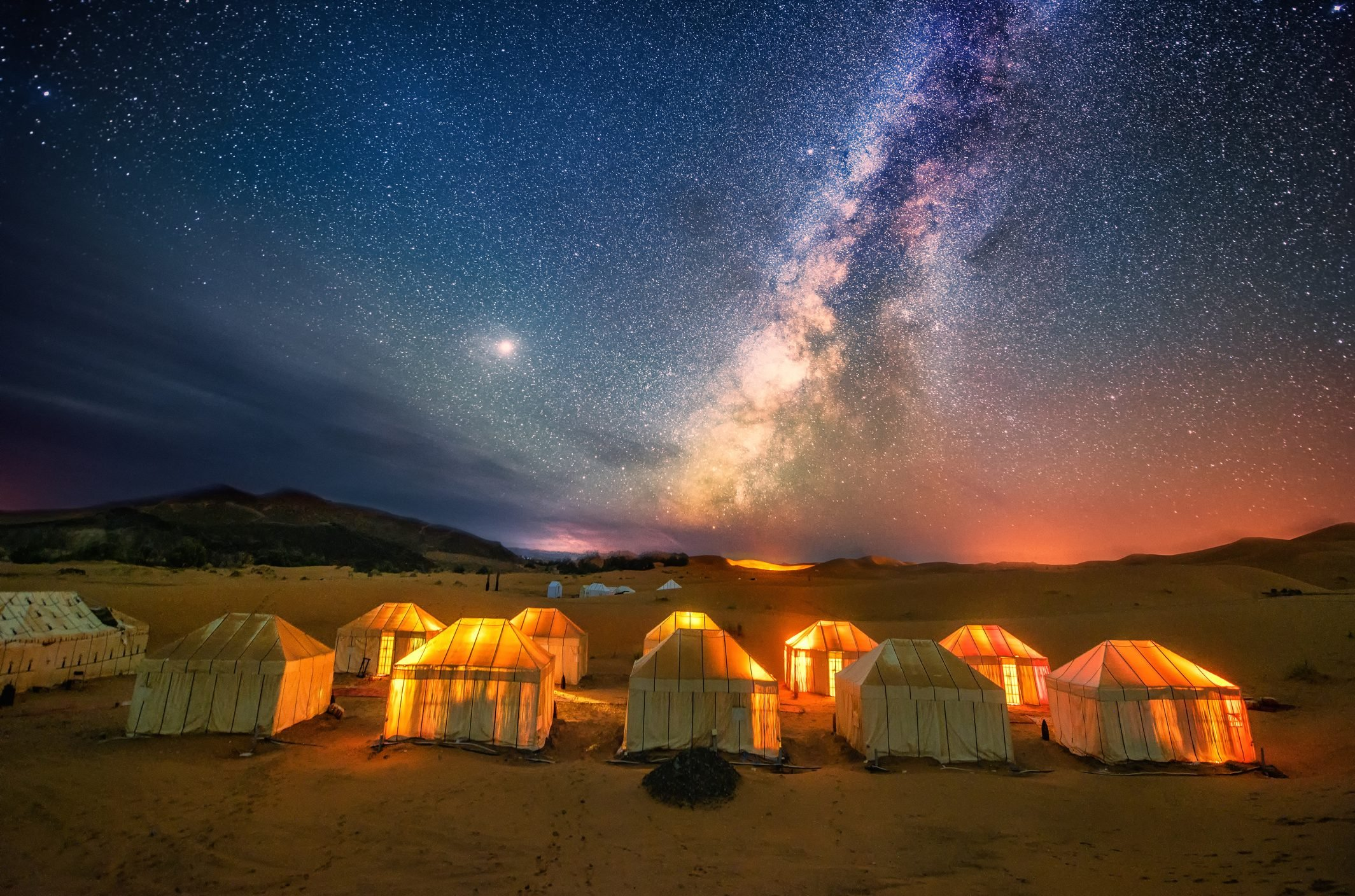 The milky way at the sahara desert in Morocco.