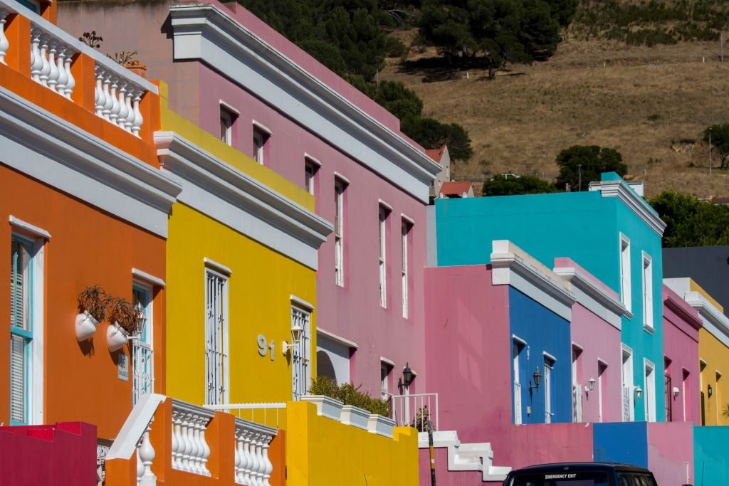 Brightly colored houses in the Bo-Kaap (Upper Cape)...