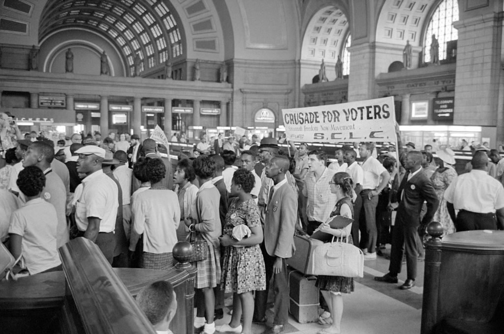 Marchers arriving at Union Station for the March on Washington, Washington DC