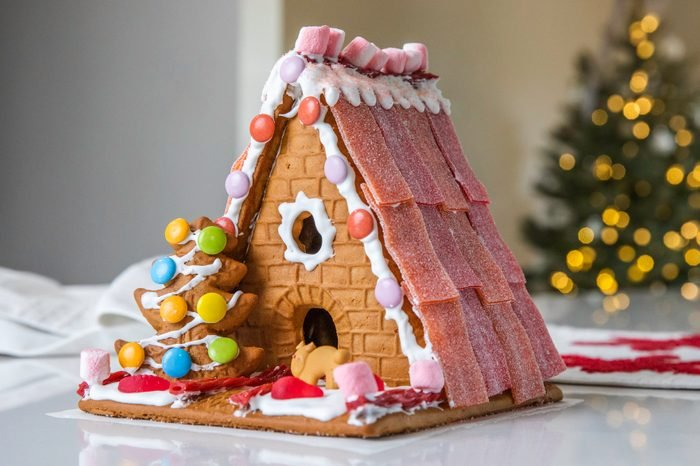 Cute Gingerbread House Decorated with Candy for the Holidays
