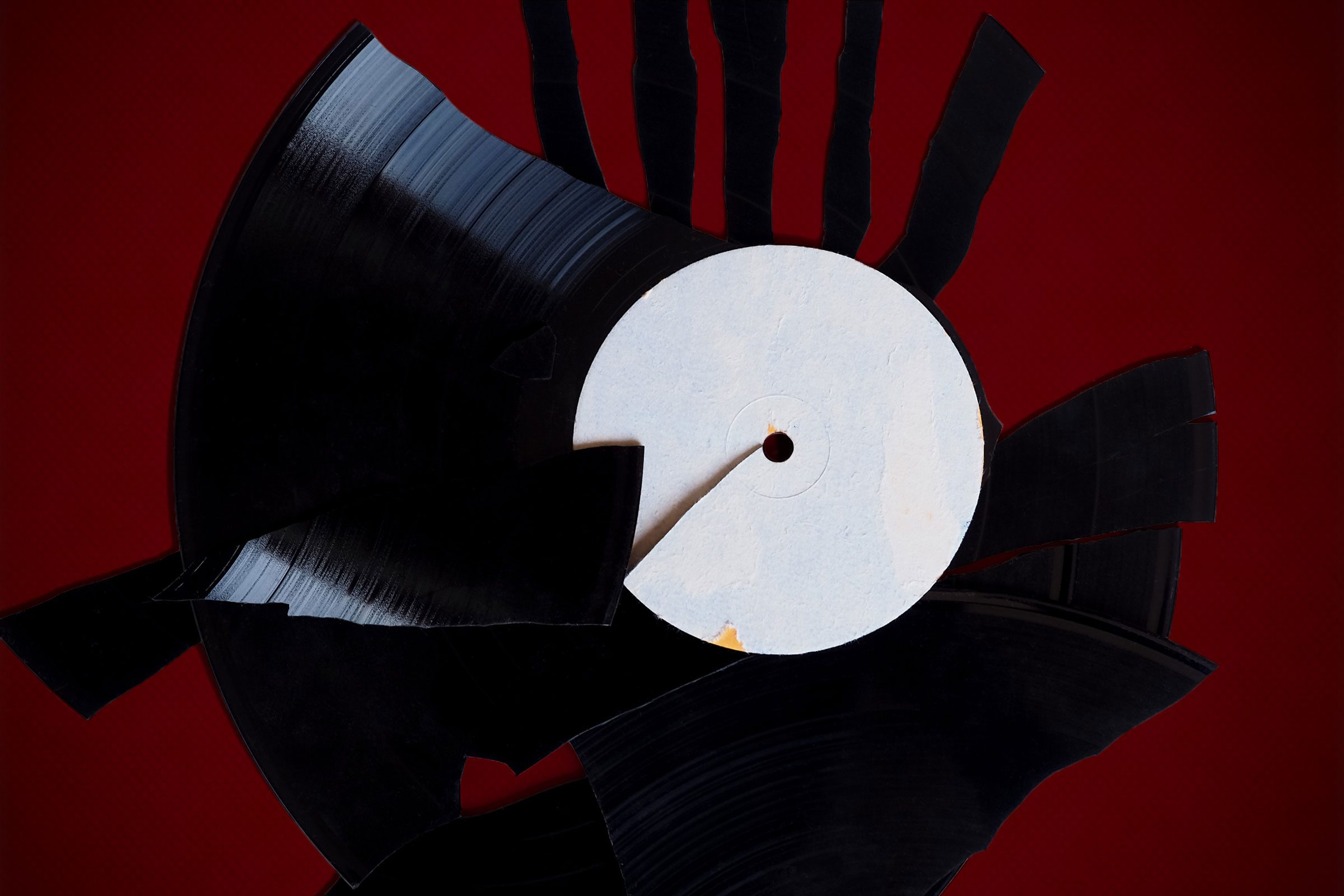 broken record on red background
