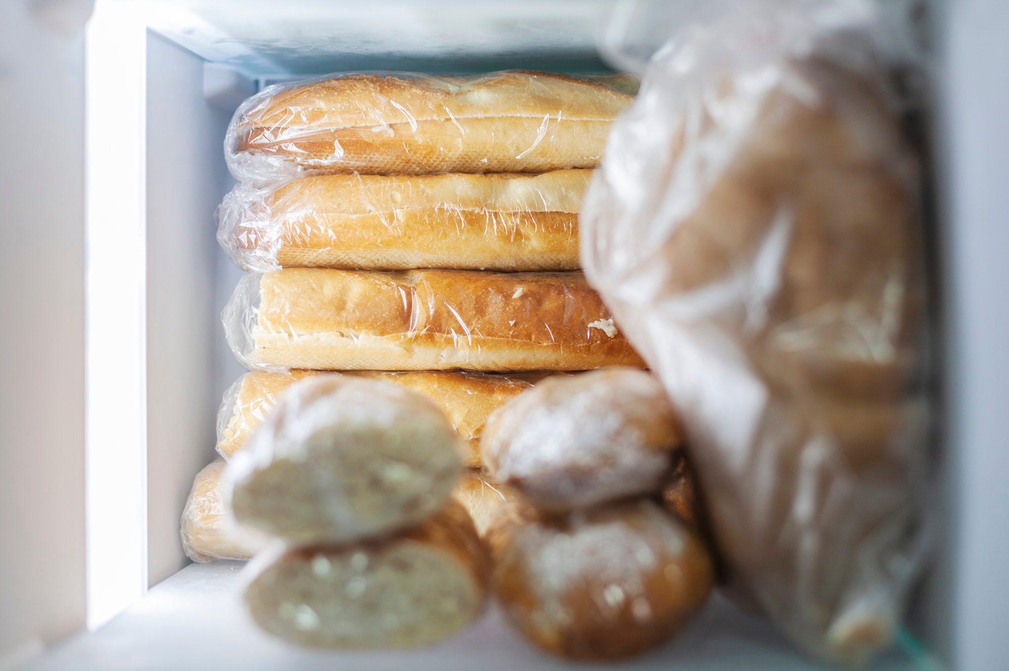 Bread stored in freezer