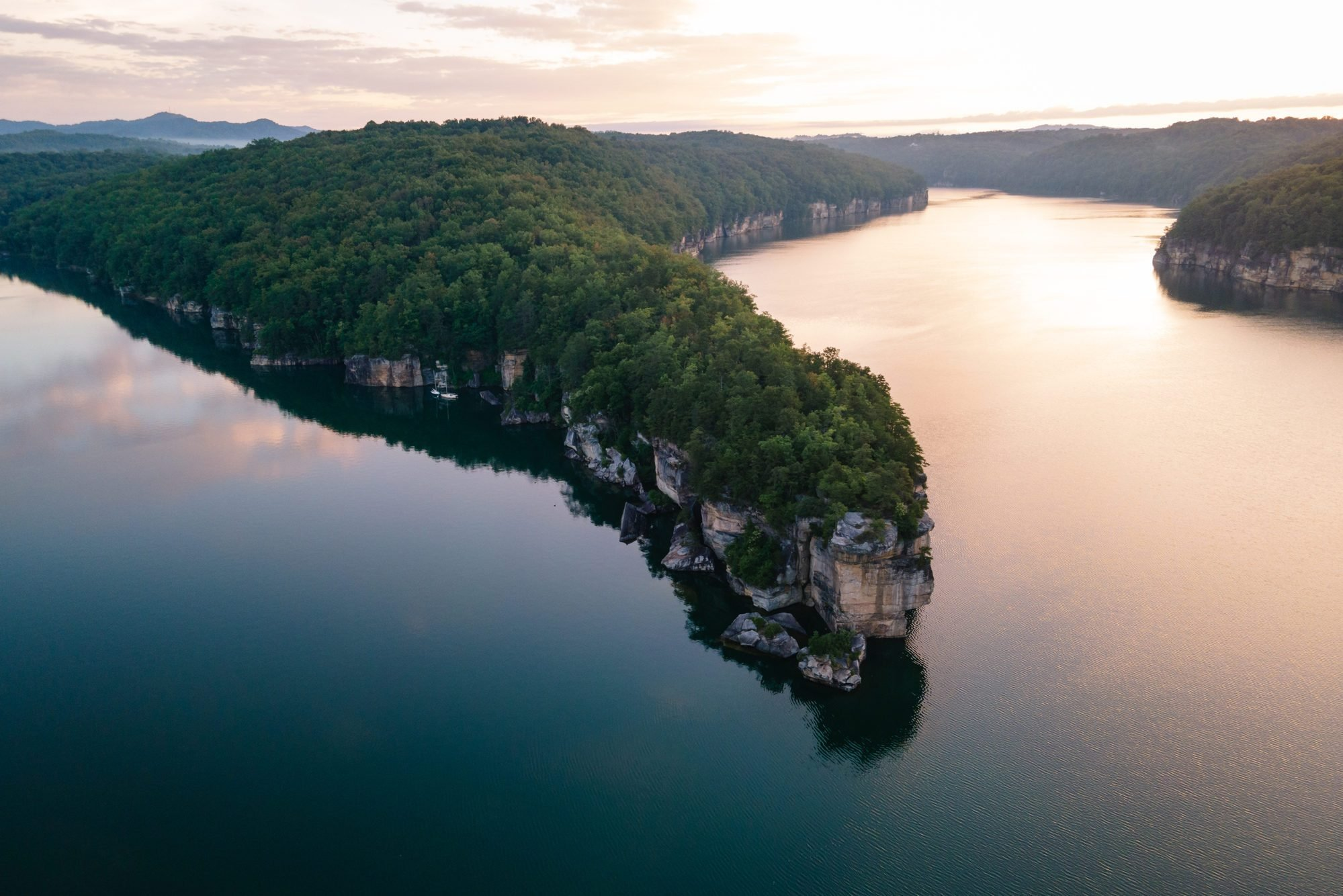 Aerial View of Long Point Peninsula at Summersville Lake, West Virginia
