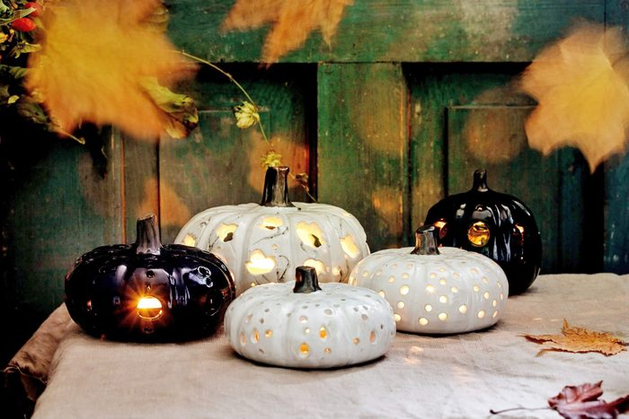 Spotted and painted halloween pumpkin decorations