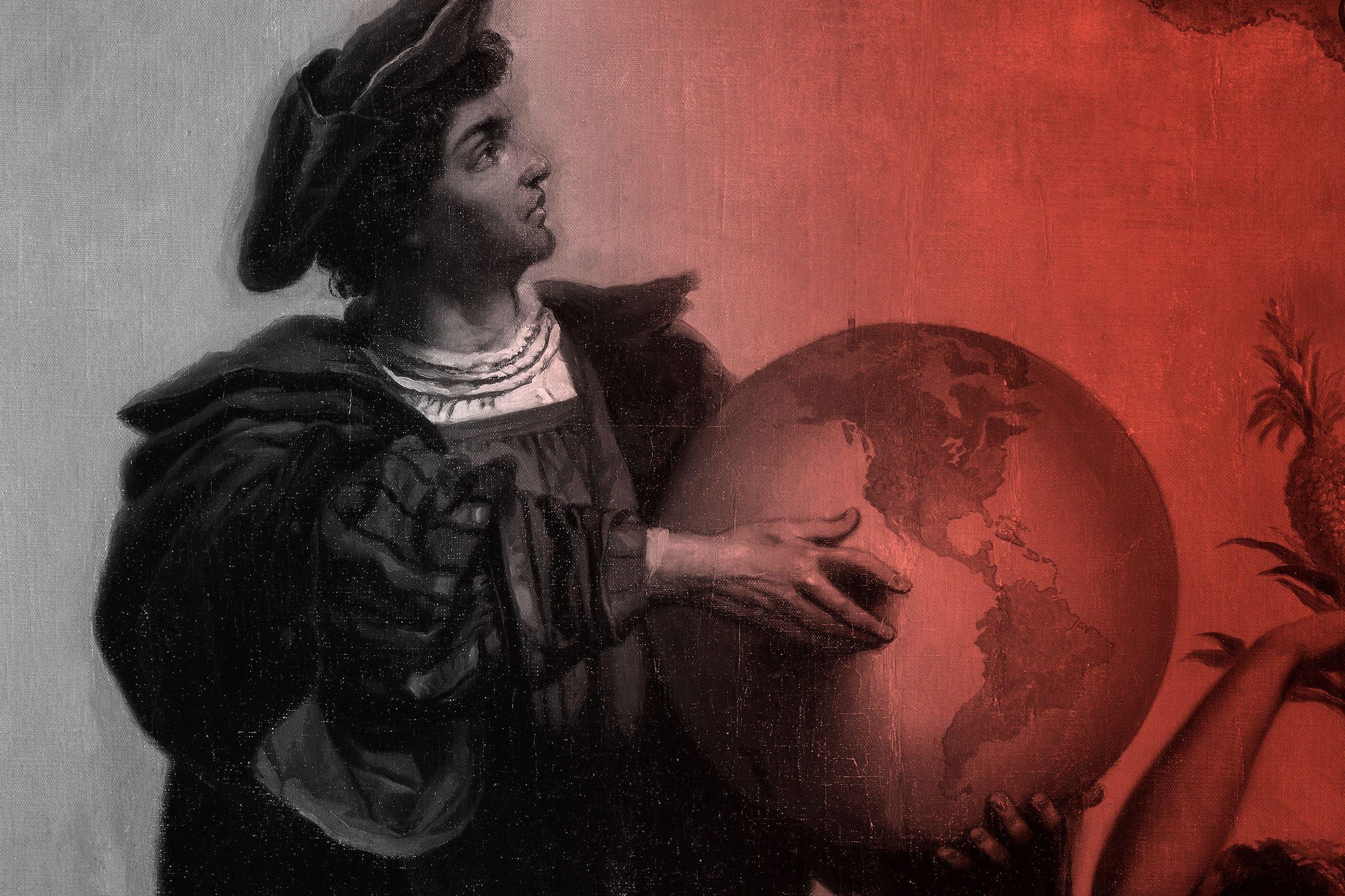 christopher columbus holding a globe