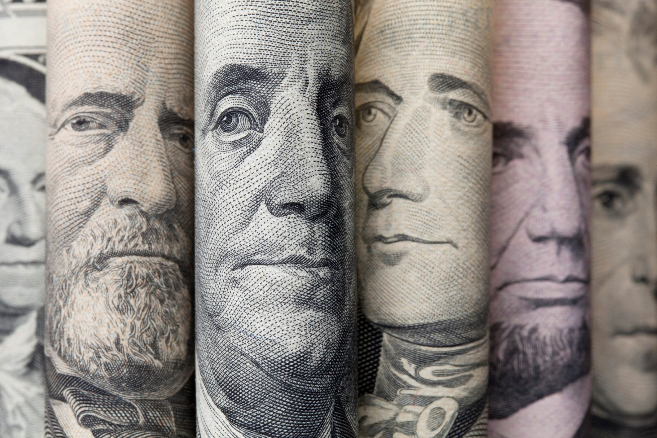 Portraits of U.S. presidents on dollar bills