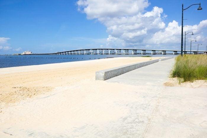 Biloxi Bay Bridge viewed from Ocean Springs Beach
